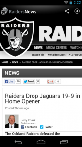 Raiders News Android app featured in M2AppMonitor Football Report